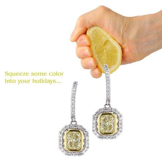 Fancy Yellow Diamond Drop Earrings 1
