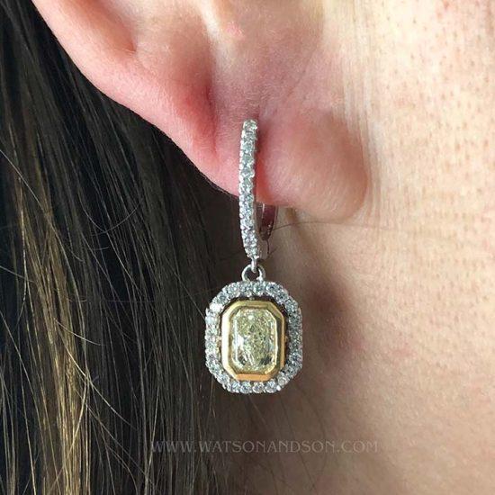 Fancy Yellow Diamond Drop Earrings 4