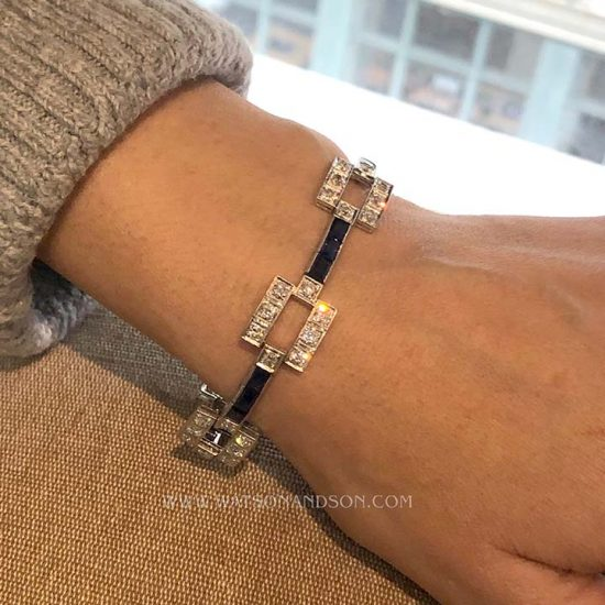 Deco Sapphire And Diamond Platinum Bracelet 2