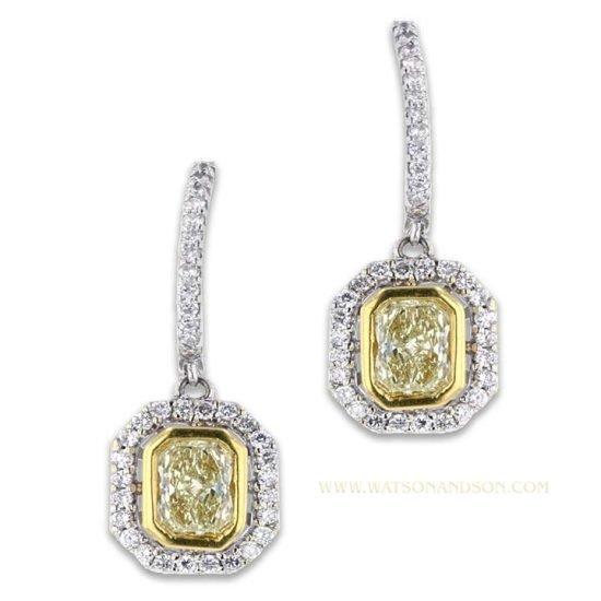 Fancy Yellow Diamond Drop Earrings 2
