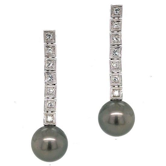 Tahitian Pearl And Diamond Drop Earrings 1