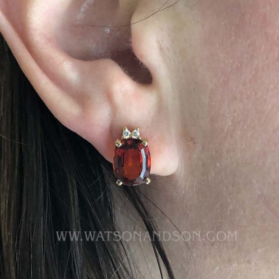 Pyrope Garnet And And Diamond Earrings 3