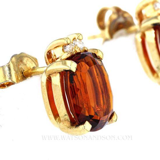 Pyrope Garnet And And Diamond Earrings 2