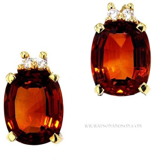 Pyrope Garnet And And Diamond Earrings 1