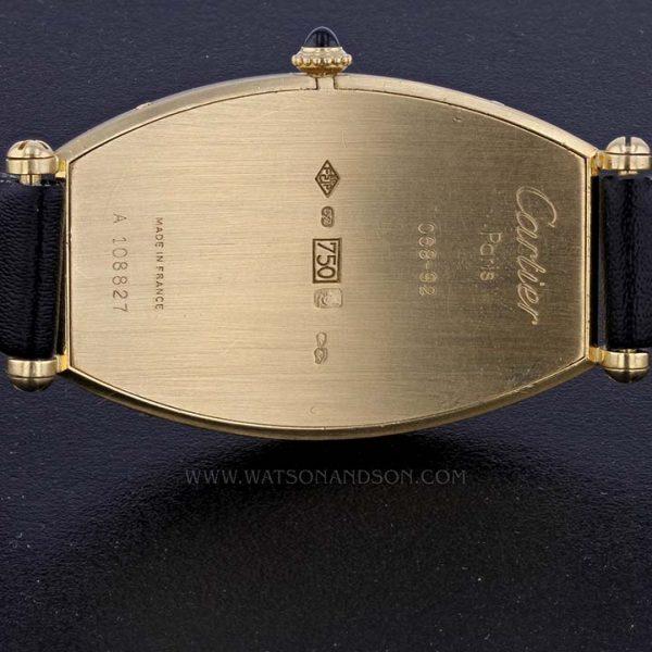 18k Yellow Gold Cartier Paris Tonneau Cintrée Strap Watch 4
