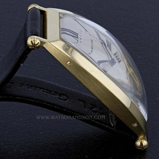 18K Yellow Gold Cartier Paris Tonneau Cintrée Strap Watch 3