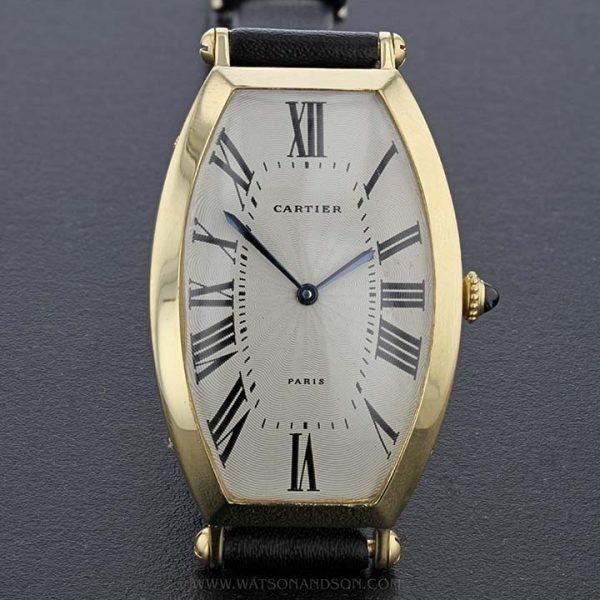 18k Yellow Gold Cartier Paris Tonneau Cintrée Strap Watch 1