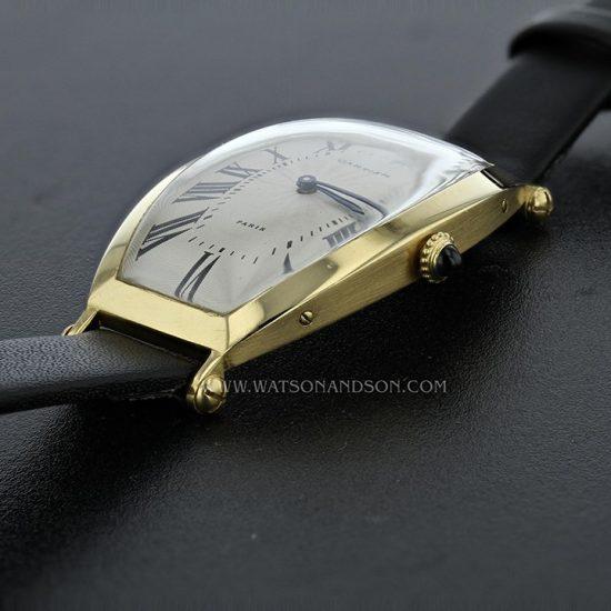 18K Yellow Gold Cartier Paris Tonneau Cintrée Strap Watch 6