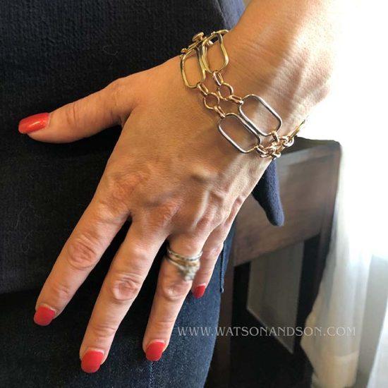 Retro Pink Gold Tank Track Bracelet 4