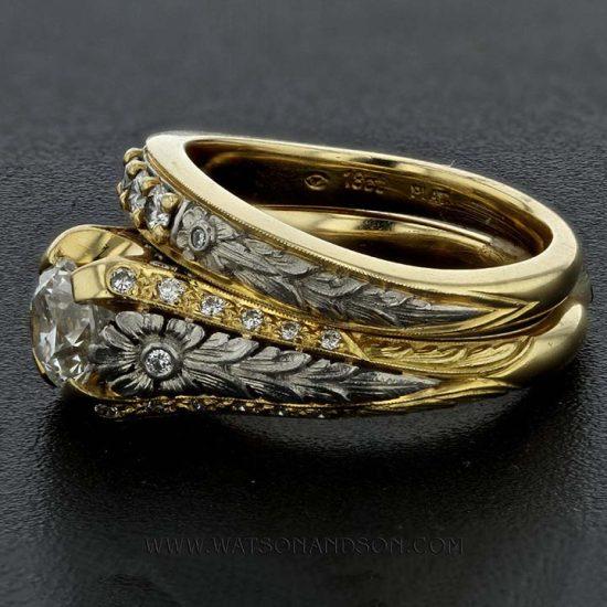 Yellow Gold And Platinum Van Craeynest Wedding Set 2