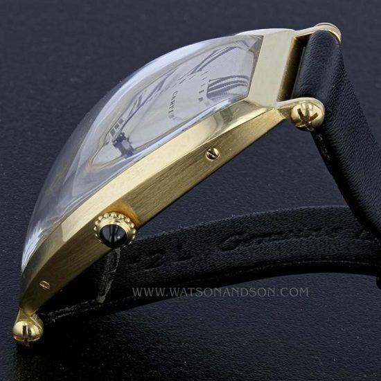 18k Yellow Gold Cartier Paris Tonneau Cintrée Strap Watch 2
