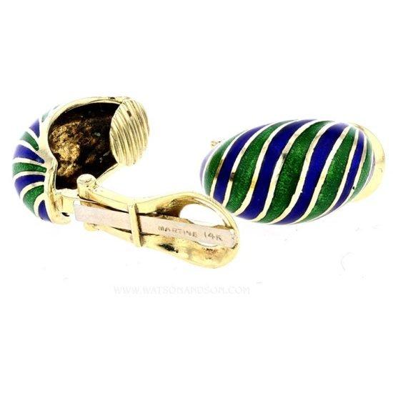 Yellow Gold Blue And Green Enamel Earrings 2