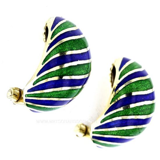 Yellow Gold Blue And Green Enamel Earrings 3