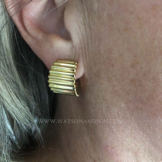 Yellow Gold Fluted Hoop Earrings 2