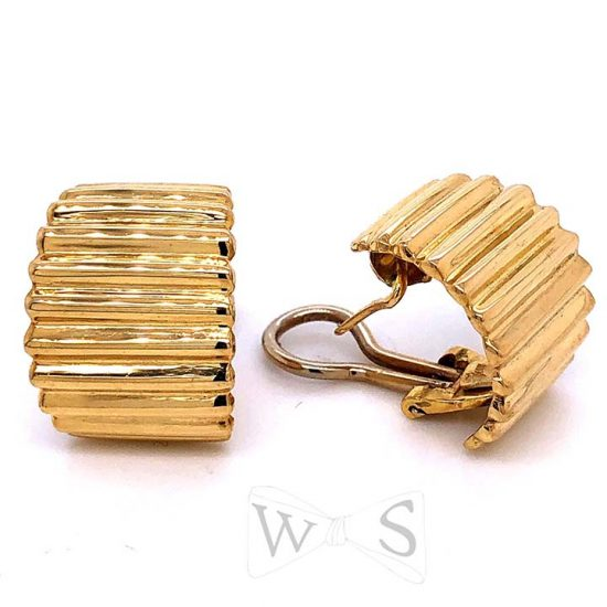 Yellow Gold Fluted Hoop Earrings 3