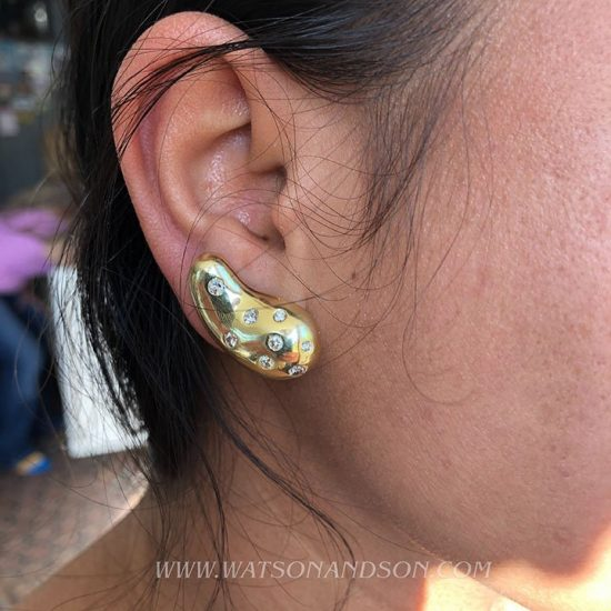Yellow Gold Diamond Bean Clip Earrings 2