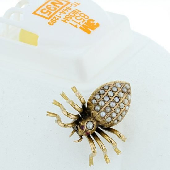 Anansi The Victorian Seed Pearl Spider Pin 8
