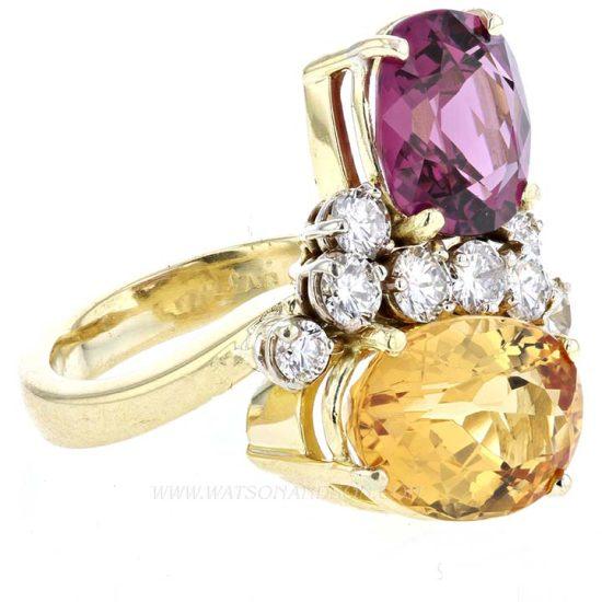Pink Tourmaline And Citrine Ring 2