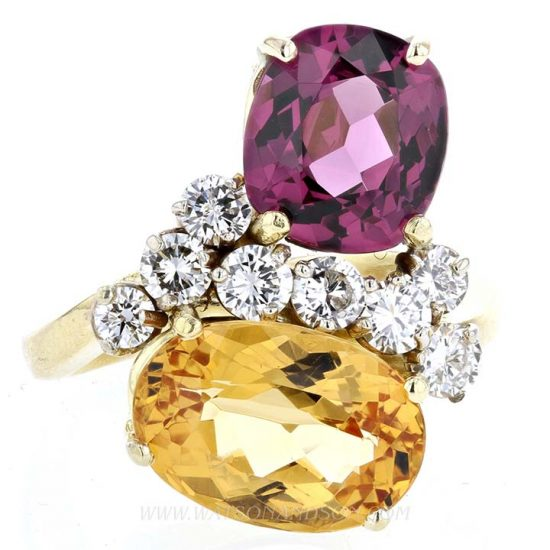 Pink Tourmaline And Citrine Ring 1