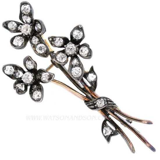 Victorian Diamond Floral Spray Pin 1