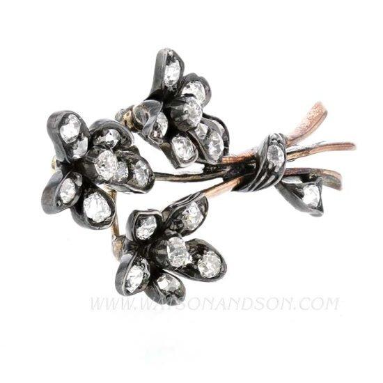 Victorian Diamond Floral Spray Pin 2