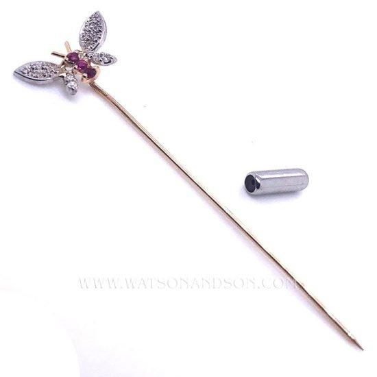 Pave Diamond Butterfly Stick Pin 3