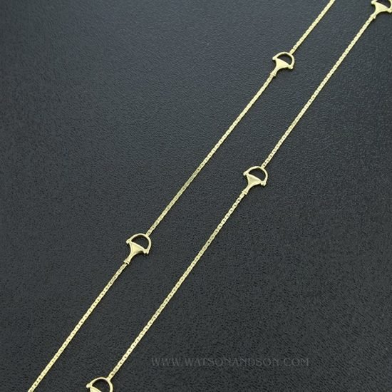 Yellow Gold Gucci Station Necklace 2