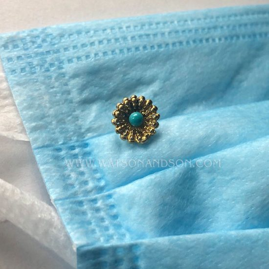 Yellow Gold Victorian Turquoise Stick Pin 3