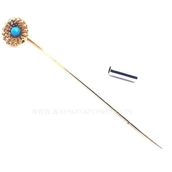 Yellow Gold Victorian Turquoise Stick Pin 2