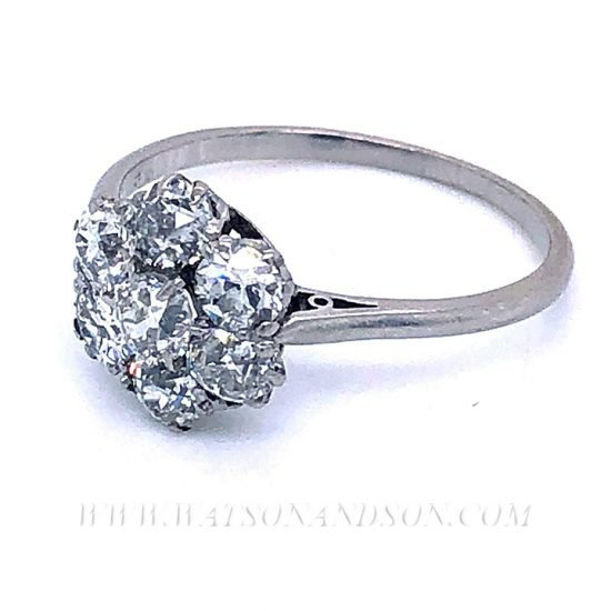 Platinum Diamond Flower Cluster Ring 6