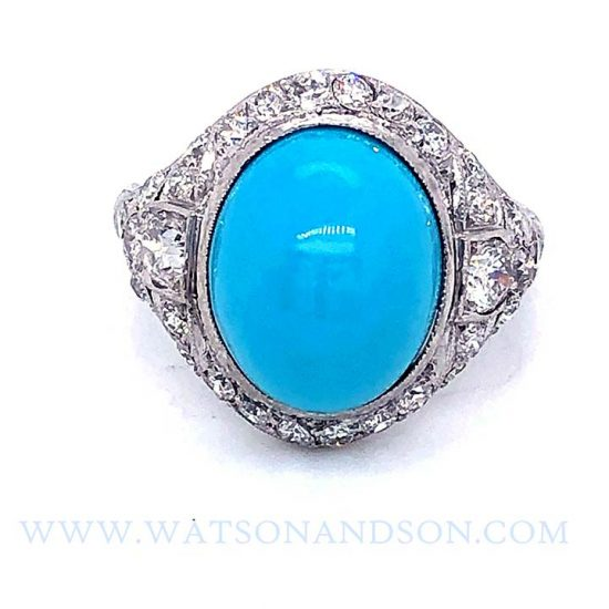 Platinum Turquoise And Diamond Edwardian Ring 1