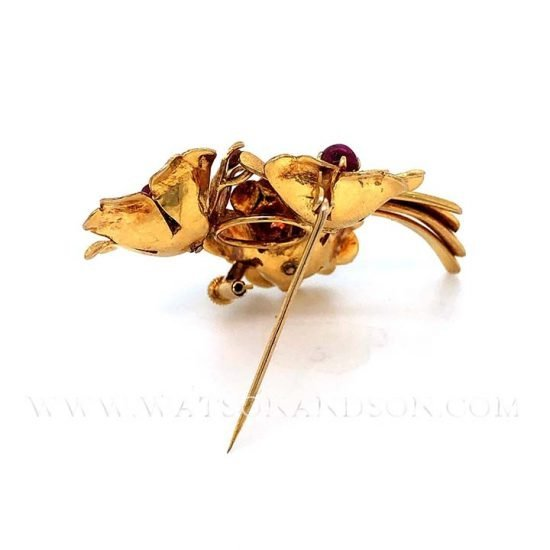 Yellow Gold Cabochon Ruby Pin 4