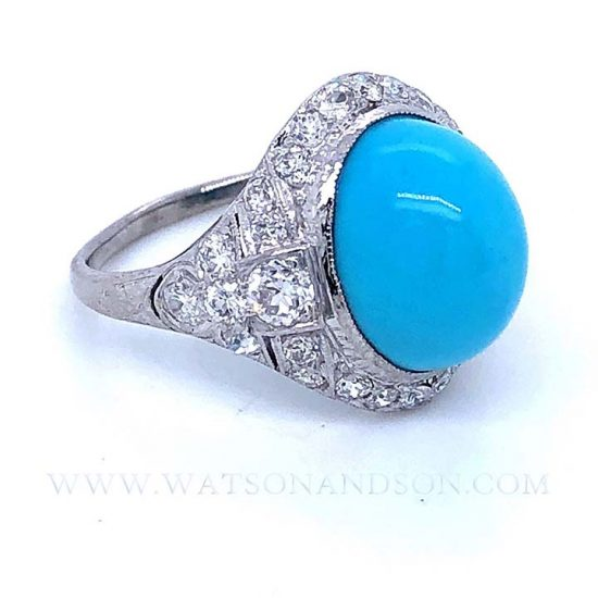 Platinum Turquoise And Diamond Edwardian Ring 5
