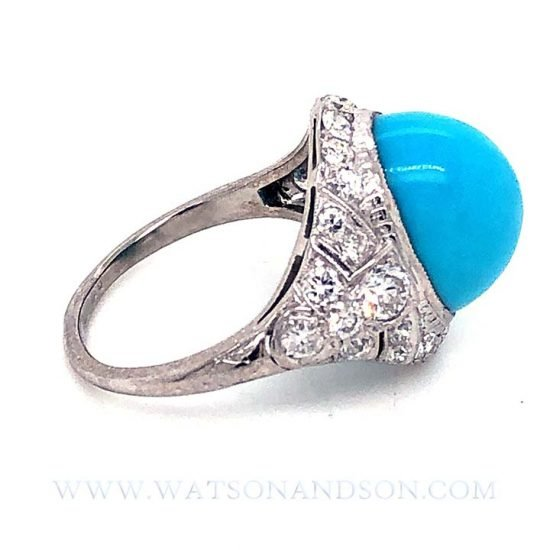 Platinum Turquoise And Diamond Edwardian Ring 6