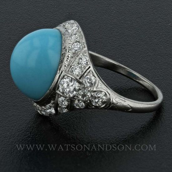 Platinum Turquoise And Diamond Edwardian Ring 2