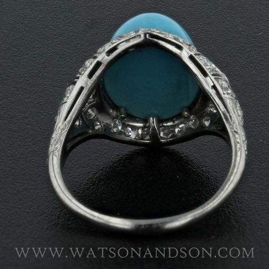 Platinum Turquoise And Diamond Edwardian Ring 3