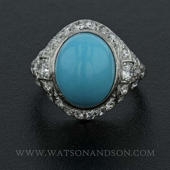 Platinum Turquoise And Diamond Edwardian Ring 4