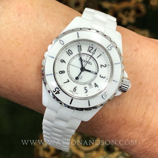 Ladies Chanel J12 White Ceramic Bracelet Watch 5