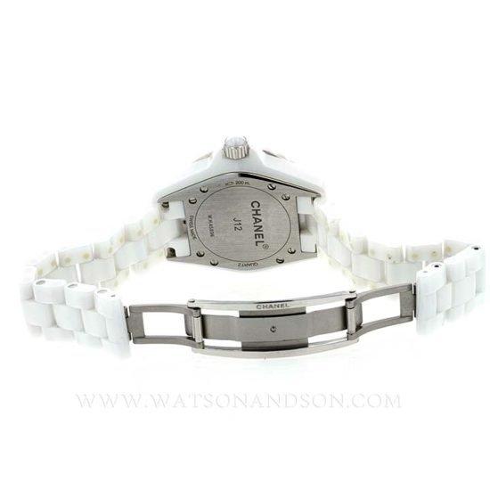 Ladies Chanel J12 White Ceramic Bracelet Watch 4