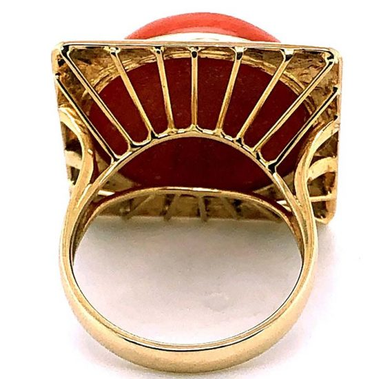 Cabochon Coral Statement Ring 5