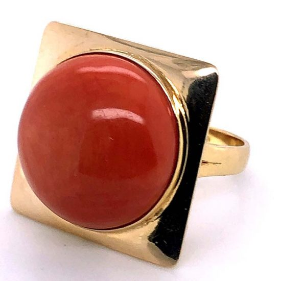 Cabochon Coral Statement Ring 4