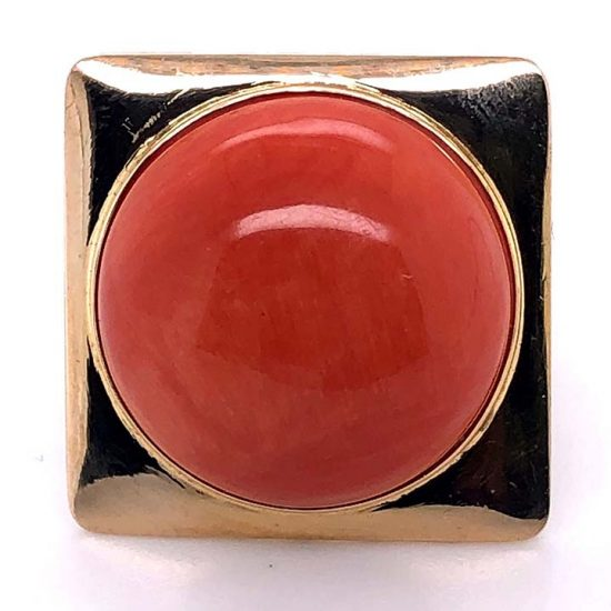 Cabochon Coral Statement Ring 2
