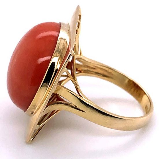 Cabochon Coral Statement Ring 3