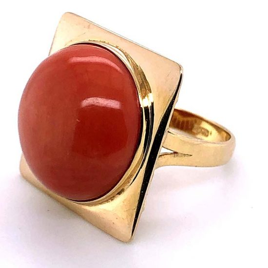 Cabochon Coral Statement Ring 1