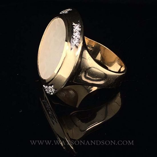 Yellow Gold Carved Mother Of Pearl Ring 6