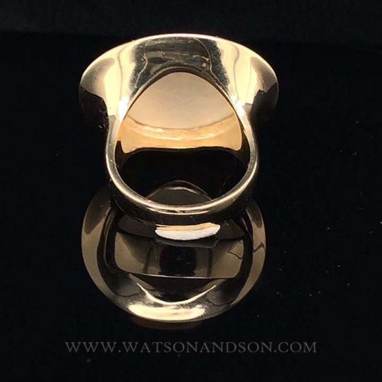 Yellow Gold Carved Mother Of Pearl Ring 5