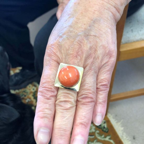 Cabochon Coral Statement Ring 7