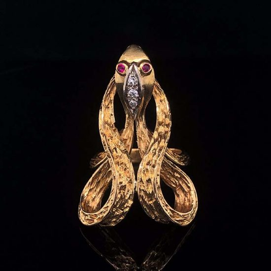 Yellow Gold Coiled Cobra Snake Ring 1