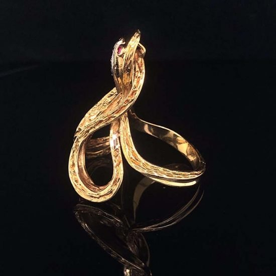 Yellow Gold Coiled Cobra Snake Ring 3