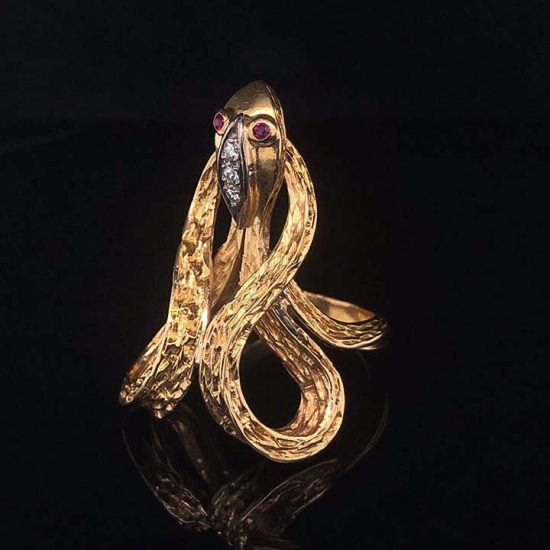 Yellow Gold Coiled Cobra Snake Ring 2
